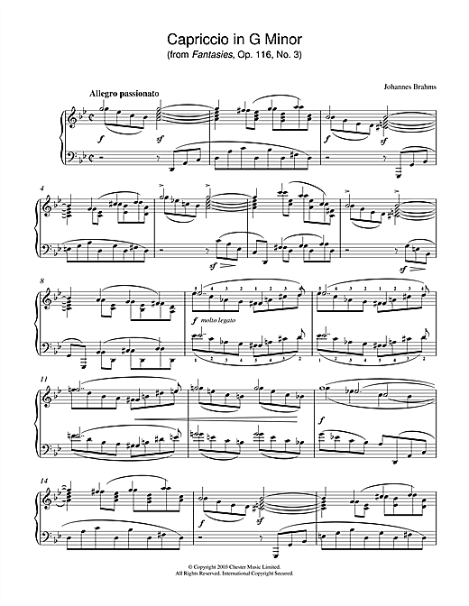 Johannes Brahms Capriccio in G Minor (from Fantasies, Op. 116, No. 3) sheet music notes printable PDF score