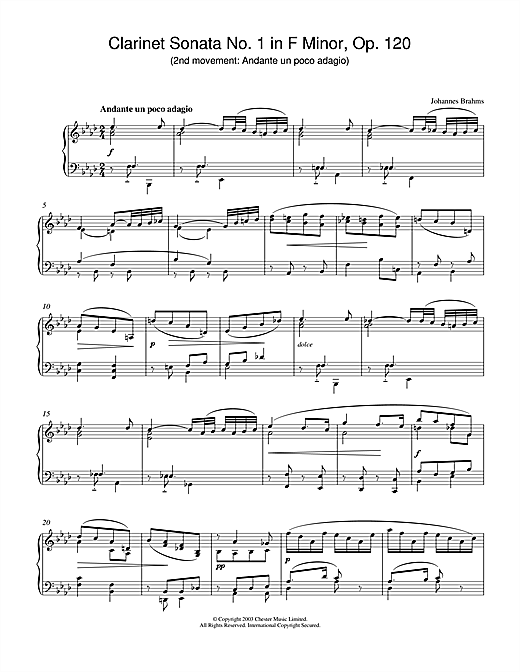 Johannes Brahms Clarinet Sonata No.1 in F Minor, Op. 120 (2nd movement: Andante un poco adagio) sheet music notes printable PDF score