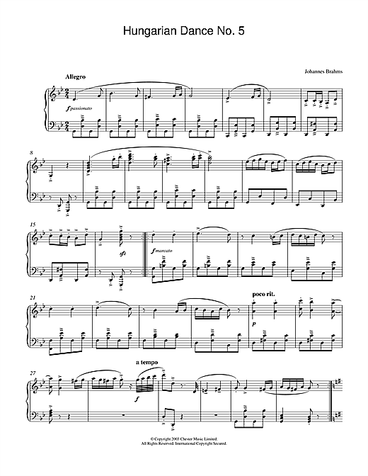 Johannes Brahms Hungarian Dance No.5 sheet music notes and chords. Download Printable PDF.