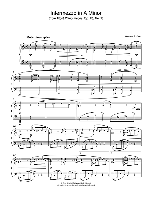 Johannes Brahms Intermezzo in A Minor (from Eight Piano Pieces, Op. 76, No. 7) sheet music notes printable PDF score