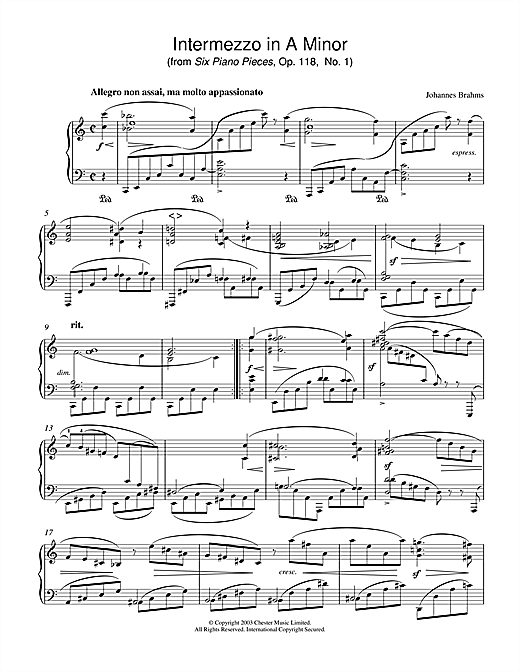 Johannes Brahms Intermezzo in A Minor (from Six Piano Pieces, Op. 118, No. 1) sheet music notes printable PDF score