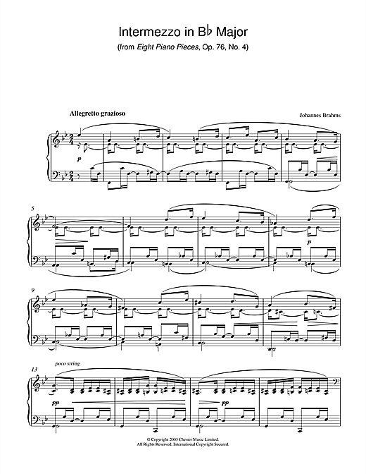 Johannes Brahms Intermezzo in B Flat Major (from Eight Piano Pieces, Op. 76, No. 4) sheet music notes and chords. Download Printable PDF.