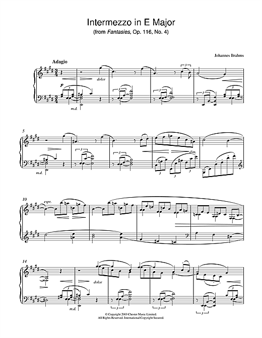 Johannes Brahms Intermezzo in E Major (from Fantasies, Op. 116, No. 4) sheet music notes and chords. Download Printable PDF.