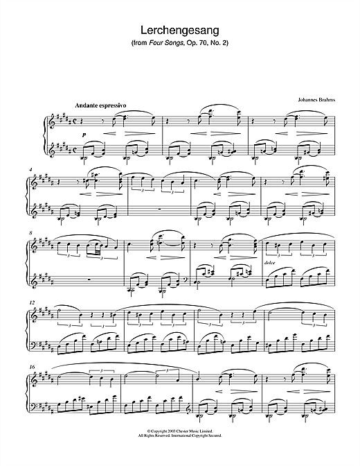 Johannes Brahms Lerchengesang (from Four Songs, Op. 70, No. 2) sheet music notes and chords. Download Printable PDF.
