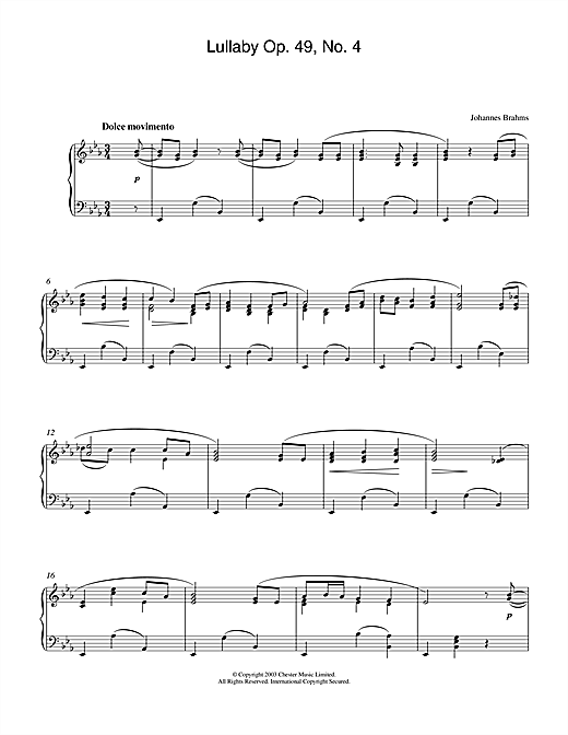 Johannes Brahms Lullaby Op. 49, No. 4 sheet music notes and chords. Download Printable PDF.