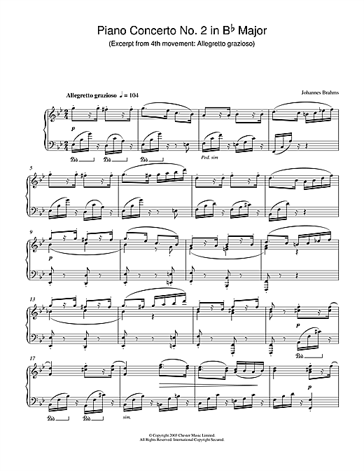 Johannes Brahms Piano Concerto No. 2 in B Flat Major (Excerpt from 4th movement: Allegretto grazioso) sheet music notes and chords. Download Printable PDF.