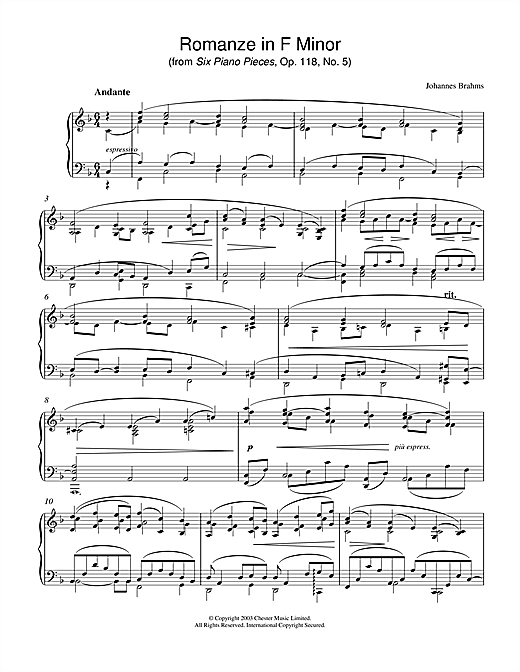 Johannes Brahms Romanze in F Minor (from Six Piano Pieces, Op. 118, No. 5) sheet music notes printable PDF score