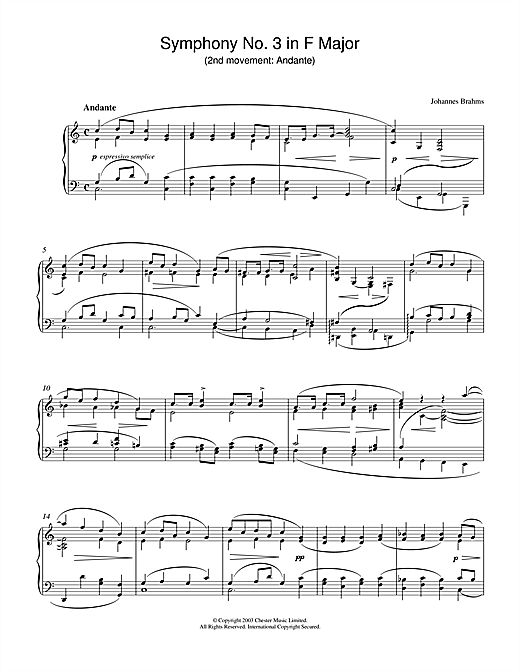 Johannes Brahms Symphony No. 3 in F Major (2nd movement: Andante) sheet music notes and chords. Download Printable PDF.
