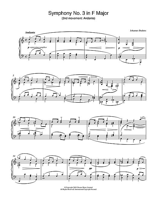 Johannes Brahms Symphony No. 3 in F Major (2nd movement: Andante) sheet music notes printable PDF score