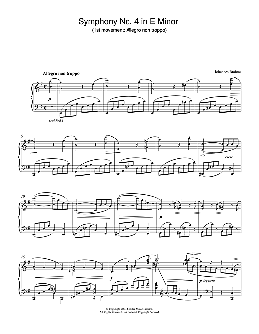 Johannes Brahms Symphony No. 4 in E Minor (1st movement: Allegro non troppo) sheet music notes and chords. Download Printable PDF.