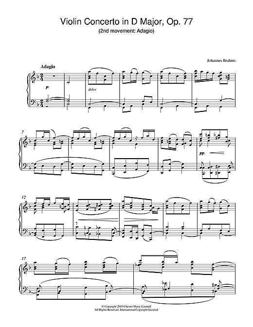 Johannes Brahms Violin Concerto in D Major, Op. 77 (2nd movement: Adagio) sheet music notes printable PDF score