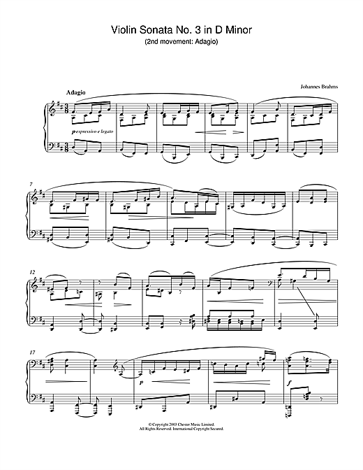 Johannes Brahms Violin Sonata No. 3 in D Minor (2nd movement: Adagio) sheet music notes printable PDF score
