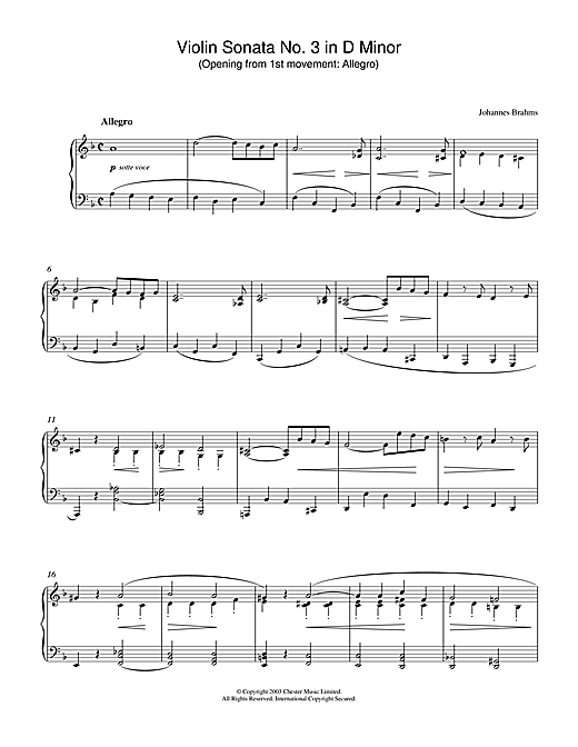 Johannes Brahms Violin Sonata No. 3 in D Minor (Opening from 1st movement: Allegro) sheet music notes printable PDF score