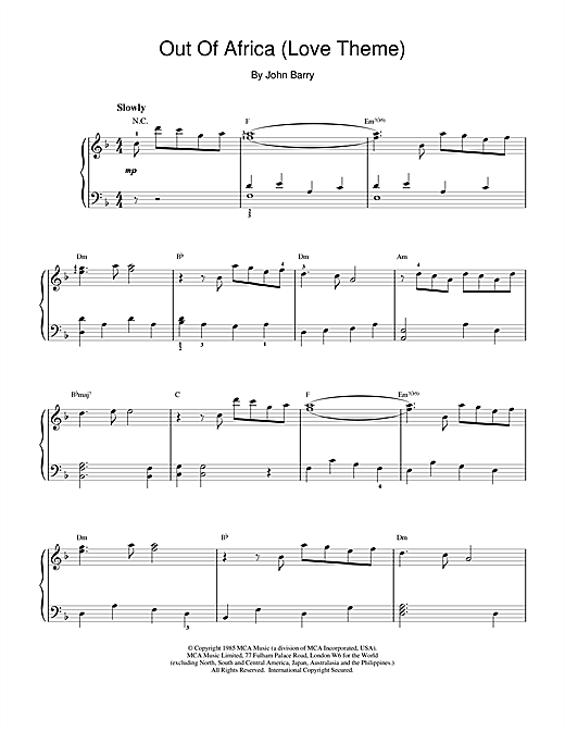 John Barry I Had A Farm In Africa (Main Title from Out Of Africa) sheet music notes printable PDF score