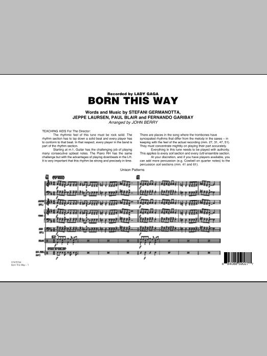 John Berry Born This Way - Full Score sheet music notes printable PDF score