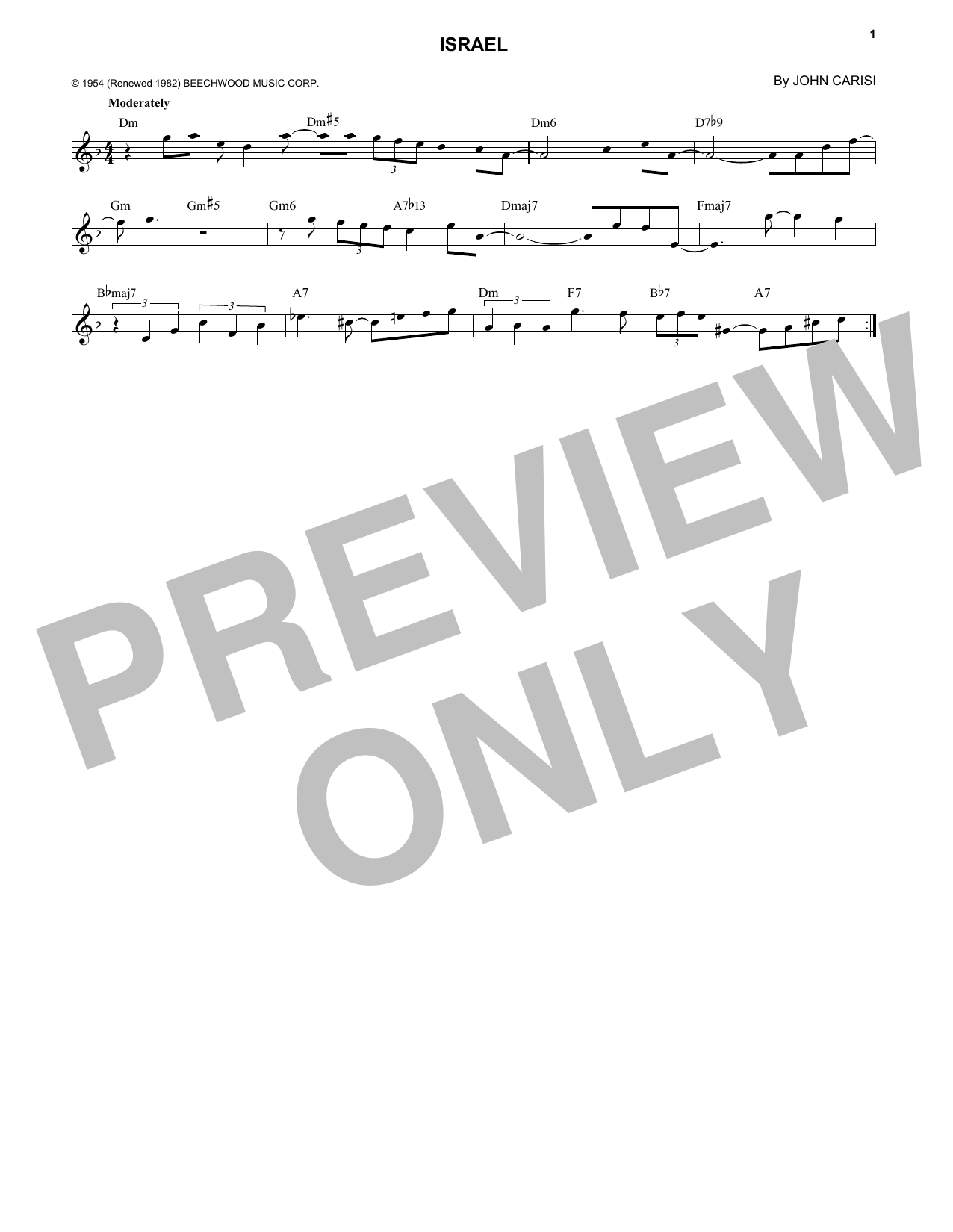 John Carisi Israel sheet music notes and chords. Download Printable PDF.
