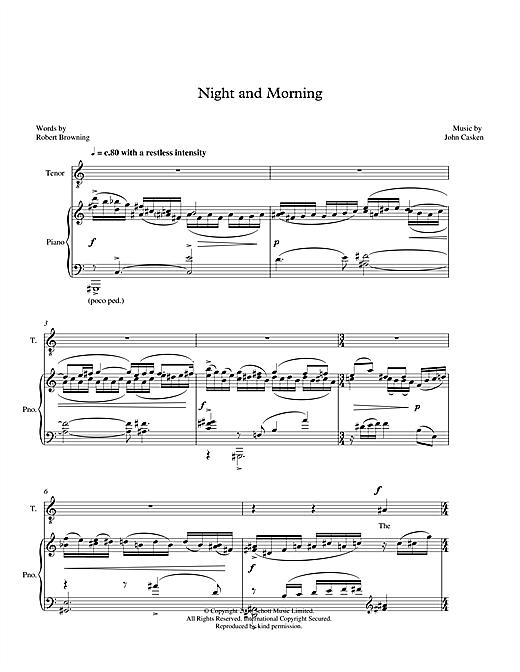 John Casken Night and Morning (for tenor & piano) sheet music notes printable PDF score