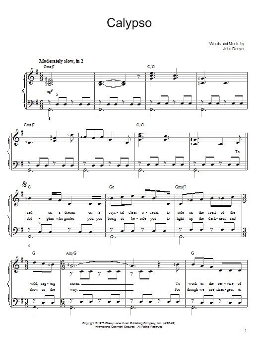 John Denver Calypso sheet music notes and chords - download printable PDF.