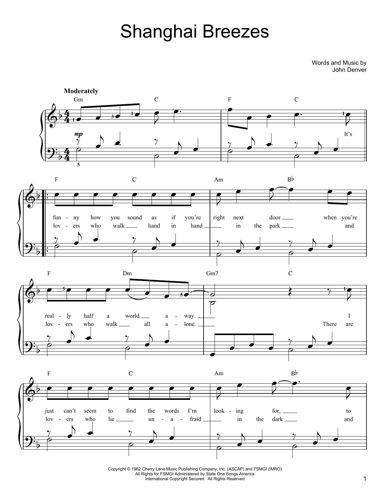 John Denver Shanghai Breezes sheet music notes and chords. Download Printable PDF.