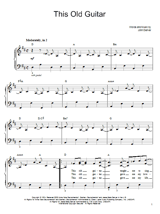 John Denver This Old Guitar sheet music notes and chords. Download Printable PDF.