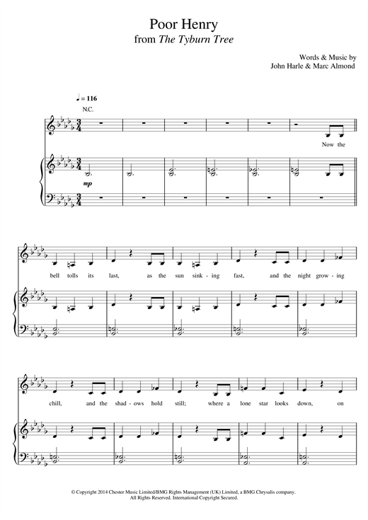 John Harle & Marc Almond Poor Henry sheet music notes and chords. Download Printable PDF.