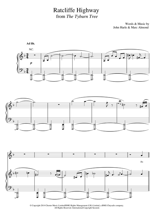 John Harle & Marc Almond Ratcliffe Highway sheet music notes and chords. Download Printable PDF.