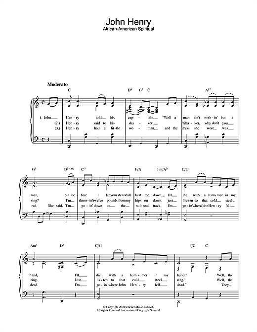 African-American Spiritual John Henry sheet music notes printable PDF score