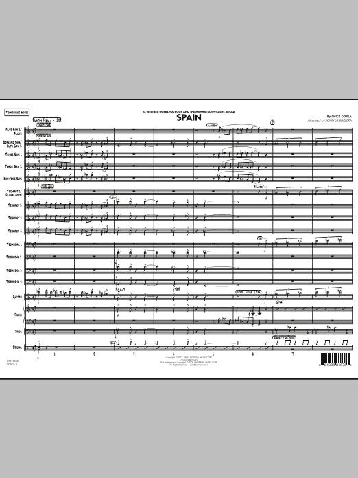 John La Barbera Spain - Conductor Score (Full Score) sheet music notes printable PDF score