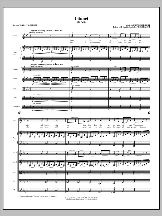 John Leavitt Litanei - Full Score sheet music notes and chords. Download Printable PDF.