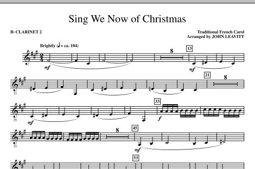 John Leavitt Sing We Now Of Christmas - Bb Clarinet 2 sheet music notes printable PDF score