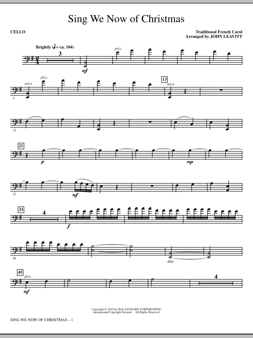 John Leavitt Sing We Now Of Christmas - Cello sheet music notes printable PDF score