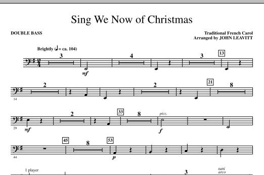 John Leavitt Sing We Now Of Christmas - Double Bass sheet music notes printable PDF score