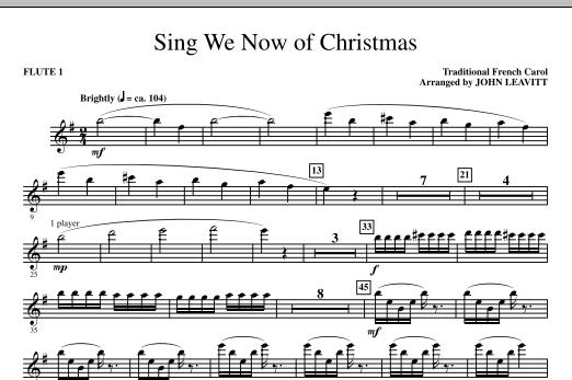 John Leavitt Sing We Now Of Christmas - Flute 1 sheet music notes printable PDF score