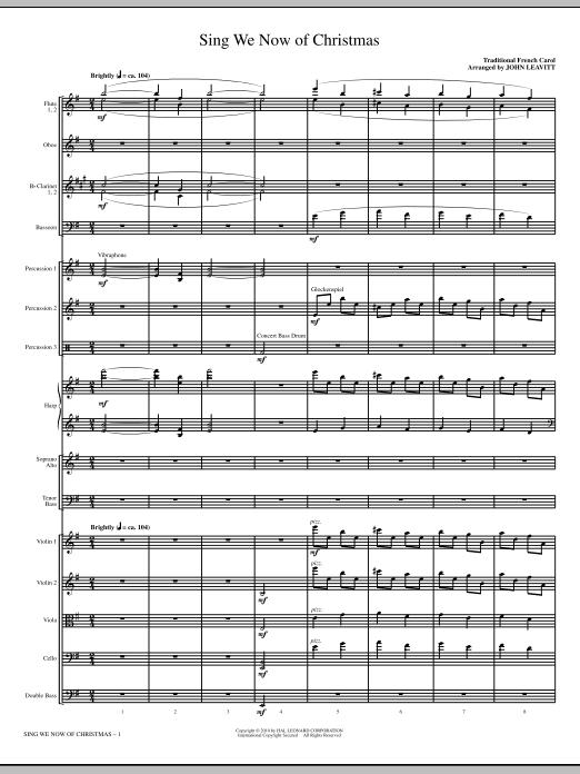 John Leavitt Sing We Now Of Christmas - Full Score sheet music notes printable PDF score