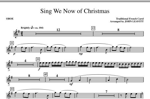 John Leavitt Sing We Now Of Christmas - Oboe sheet music notes printable PDF score