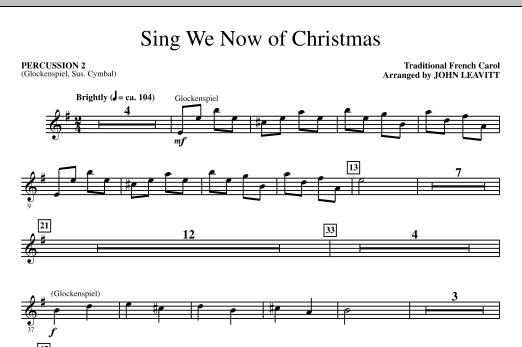 John Leavitt Sing We Now Of Christmas - Percussion 2 sheet music notes printable PDF score