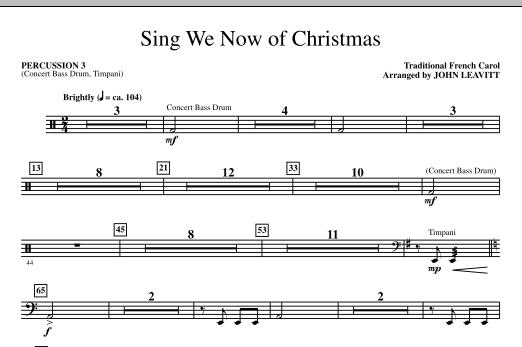 John Leavitt Sing We Now Of Christmas - Percussion 3 sheet music notes printable PDF score
