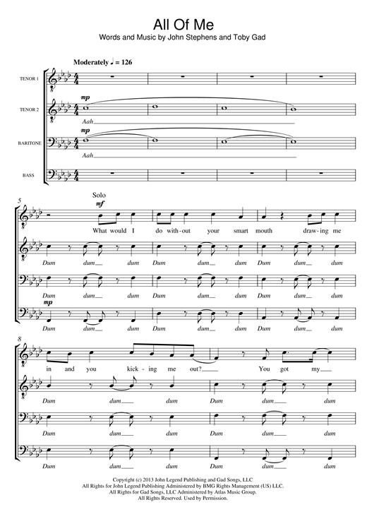 John Legend All Of Me (arr. Sam Harrop) sheet music notes and chords. Download Printable PDF.