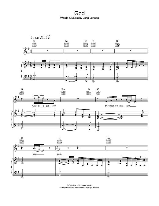 John Lennon God sheet music notes printable PDF score
