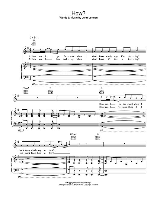 John Lennon How sheet music notes printable PDF score