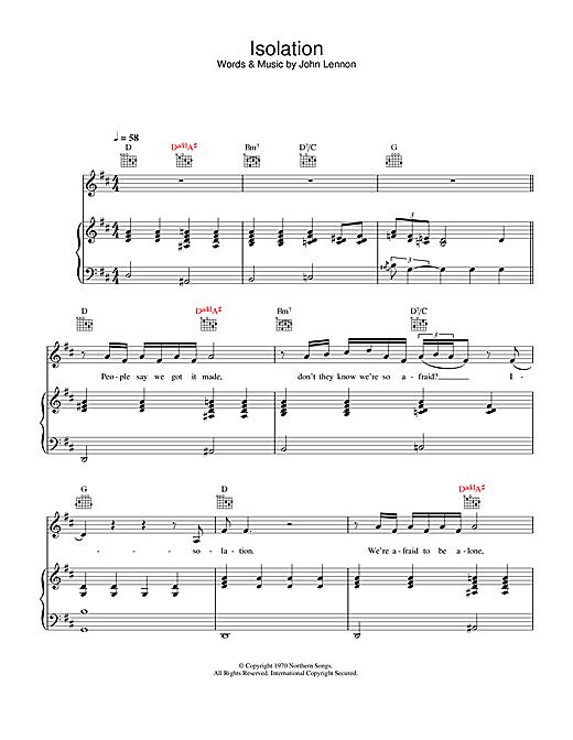 John Lennon Isolation sheet music notes printable PDF score