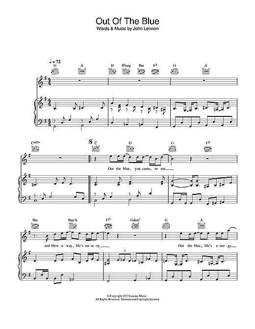 John Lennon Out The Blue sheet music notes printable PDF score
