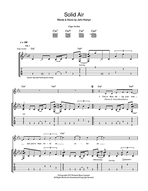 John Martyn Solid Air sheet music notes and chords - download printable PDF.