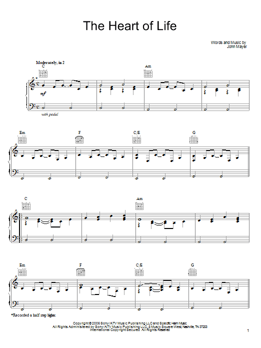 John Mayer The Heart Of Life sheet music notes and chords. Download Printable PDF.