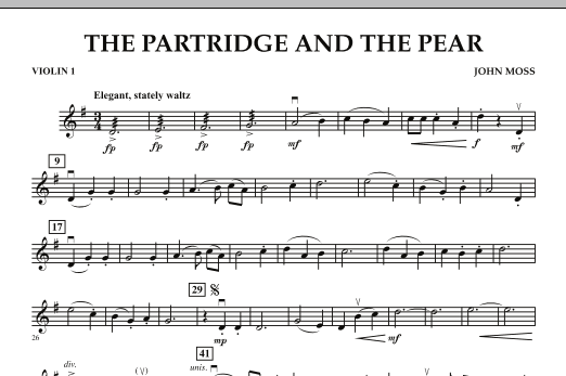 John Moss The Partridge and the Pear - Violin 1 sheet music notes and chords. Download Printable PDF.