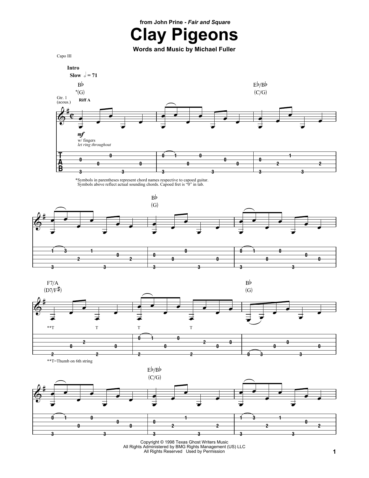 John Prine Clay Pigeons sheet music notes and chords. Download Printable PDF.