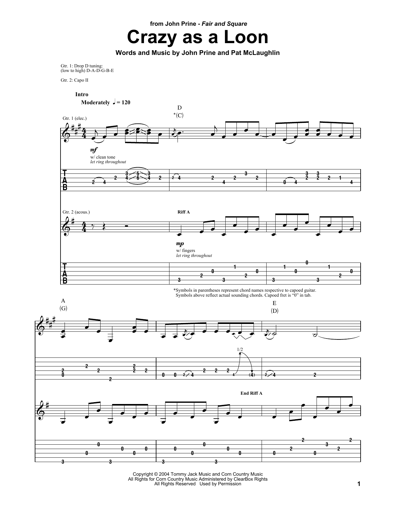 John Prine Crazy As A Loon sheet music notes and chords. Download Printable PDF.