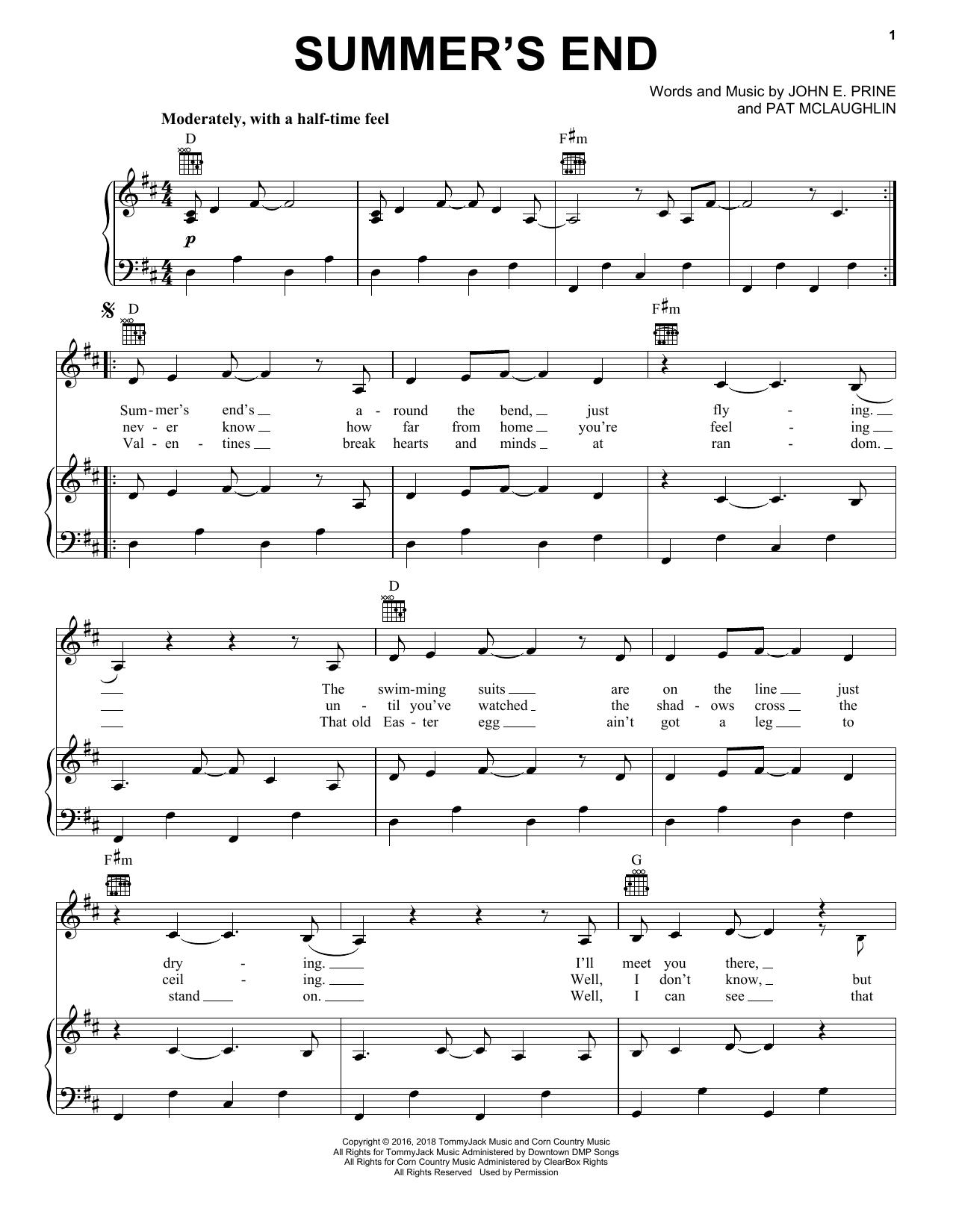 John Prine Summer's End sheet music notes and chords. Download Printable PDF.