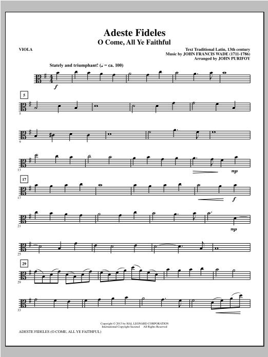 John Purifoy Adeste Fideles - Viola sheet music notes and chords. Download Printable PDF.