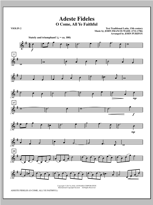 John Purifoy Adeste Fideles - Violin 2 sheet music notes and chords. Download Printable PDF.